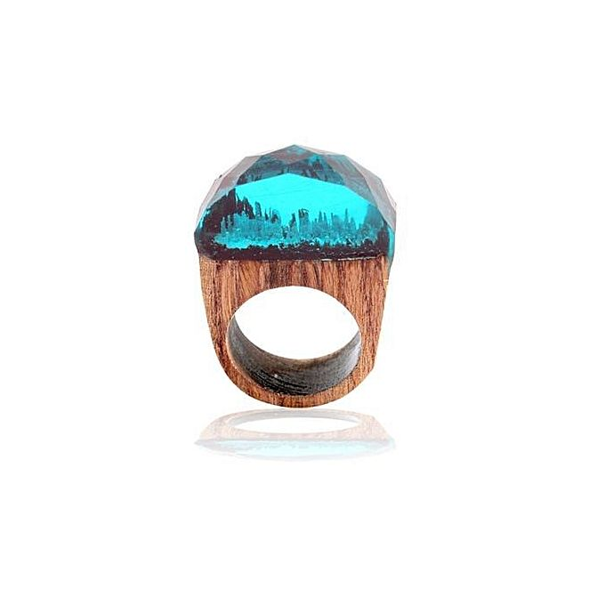 Magic fores wood round head ring light blue