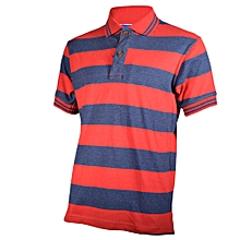 Red and Deep Blue Striped Mens Pure Cotton Polo T-Shirt -Freestyle Streetwear