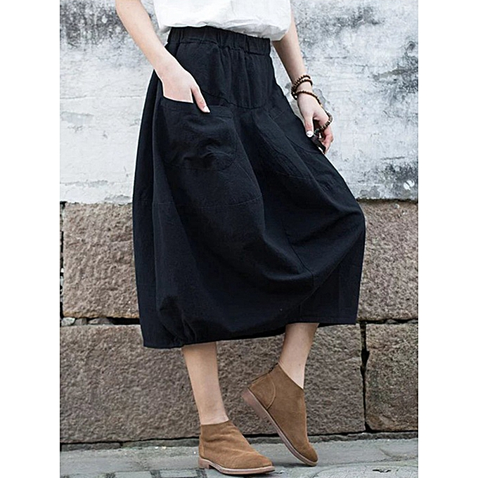 e35e7ac65ce5 Fashion Casual Women Pure Color Cotton Skirts with Pockets @ Best ...