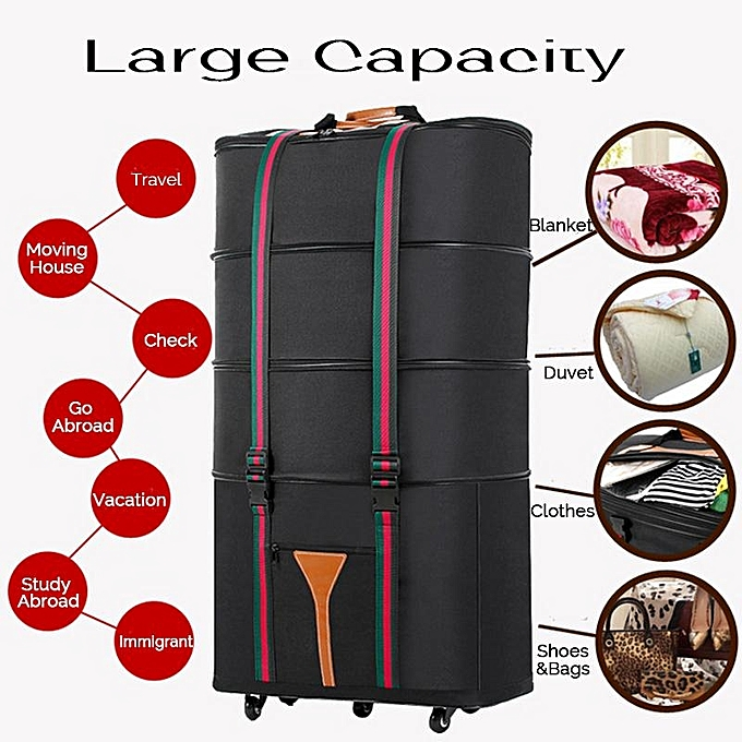 c365d173b 4 Layers Expandable Rolling Duffel Bag Wheeled Spinner Suitcase Luggage  56-75L