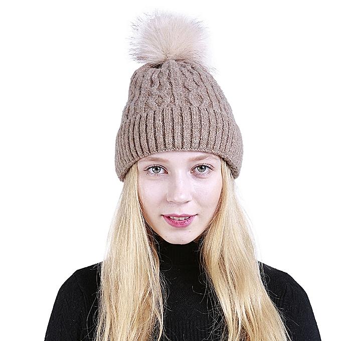 singedanLadies Pom Pom Hat Women Winter Cap Cosy Beanie Warm Hat Fluffy  Bulb -Khaki 974e2087726
