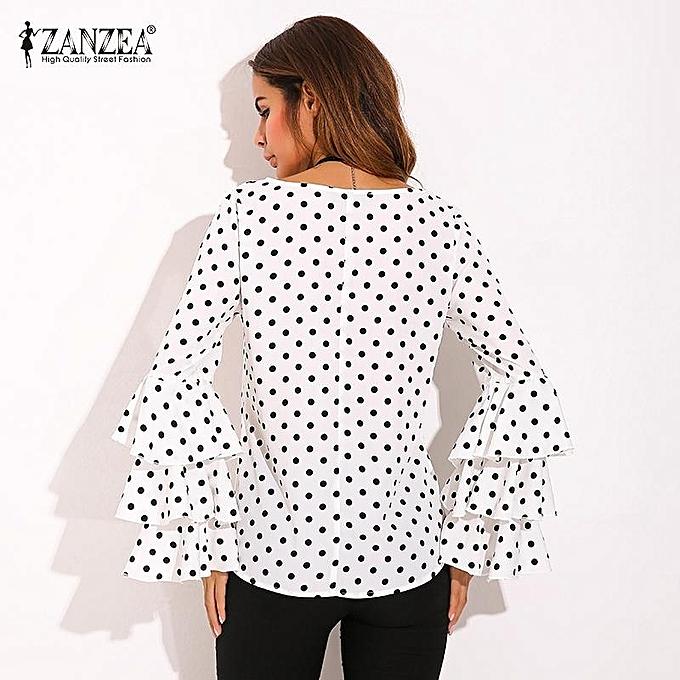 12f2cddc4bea21 ZANZEA Womens Flouncing Ruffled Long Sleeves Summer Autumn Polka Dot Butterfly  Sleeve Loose Casual Tops Blouse