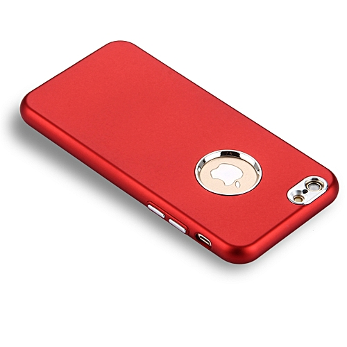 low cost 68957 cf8e1 For iPhone 6 Plus and 6s Plus Pure Colour Oil Spout Soft TPU Metal Button  Protective Case Back Cover (Red)