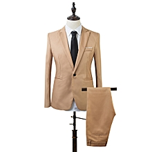 Men Slim Fit Business Leisure One Button Formal Two-Piece Suit for Groom Wedding-Khaki - Khaki - L