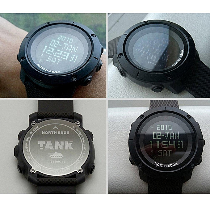 ab520b718 NORTH EDGE TANK Men Sports Watch Digital Wristwatch 5ATM Waterproof  Stopwatch LJMALL