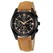 Luxury Quartz Sport Military Stainless Steel Dial Leather Band Wrist Watch