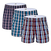 Multicolored Checked Boxers - 3 Pieces - Pure Cotton- (Colors may vary)