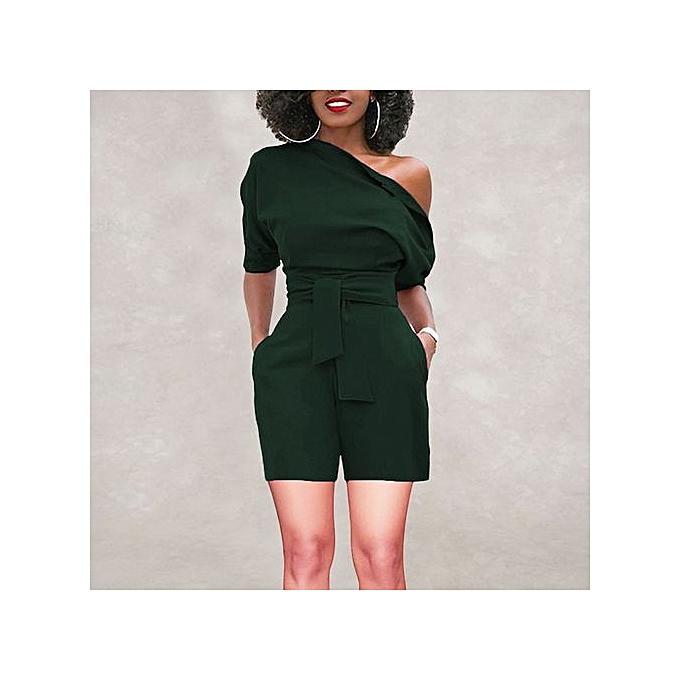 8b44cd92a486 Hiaojbk Store Women s Sexy Off Shoulder Ruffle Short Romper Fashion Casual  Jumpsuit -Green
