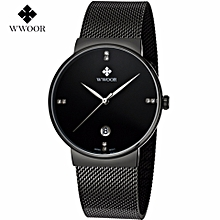 New popular WWOOR Watches Men Stainless Steel Mesh Band Fashion Analog Quartz Watch Ultra Thin Blue Dial Clock Male 8018