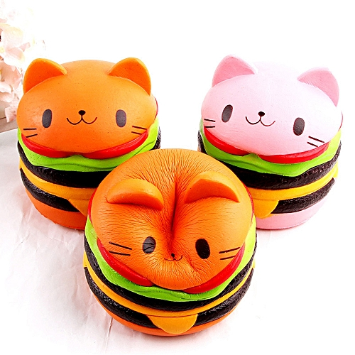 0c09bb668277 Generic Soft Cute Cat Hamburg Antistress Squishy Slow Rising Toy Artificial  Simulation Relieves Stress Toys for Children Adult Anxiety Attention Pink