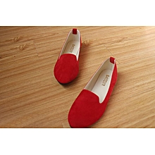 Women Flat Shoes wine red