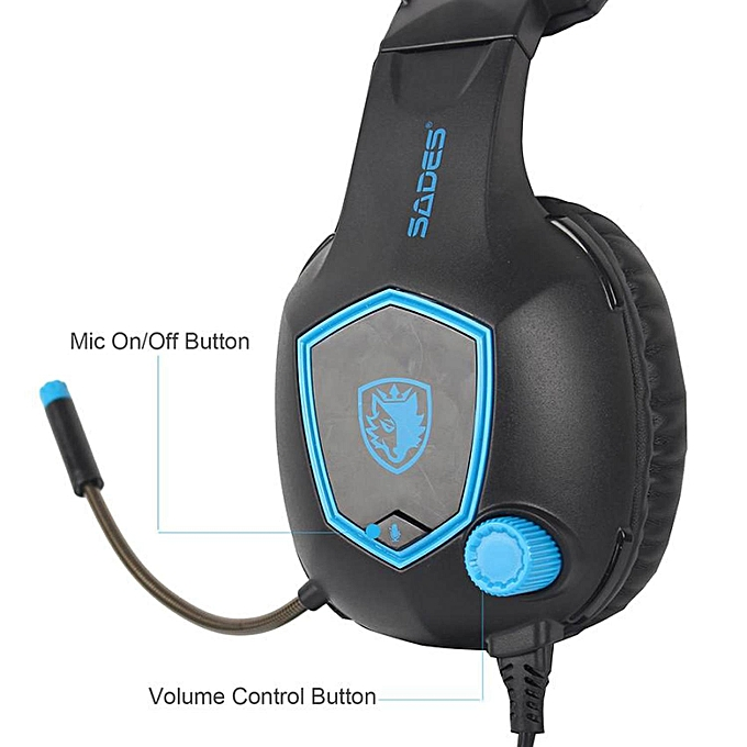 SADES SA818 Earphone Gaming Headset PC Gamer Headphones with Microphone for  PS4 New Xbox One Controller Laptop