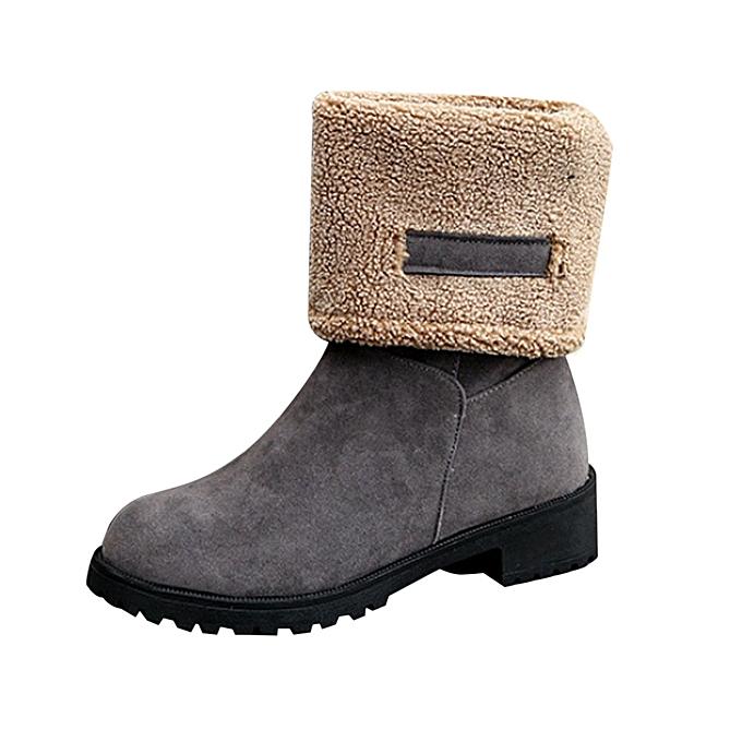 f3d0a8c09b37 Neworldline Fashion Ladies Women Boots Flat Winter Warm Snow Shoes GY 36- Gray  36