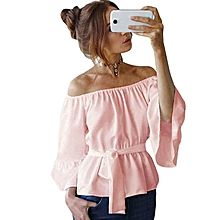 354475dc39bb7d ZANZEA Cold Shoulder Top Women Frill Elastic Boat Neck Flare Sleeve Belt  Blouse Pink