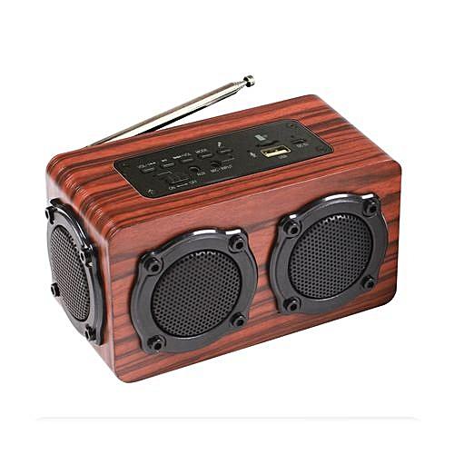 Quad Subwoofers Heavy Bass Wooden Bluetooth Speaker FM USB