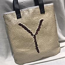 bluerdream-Double Color  Sequins Handbag Shoulder Bag Tote Ladies Purse-Khaki