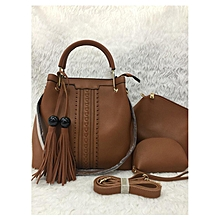 3 In 1Tassel Panelled Shoulder Handbag - Mud