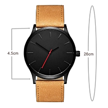 Men's Fashion Casual Leather Wrist Watch - Black Head