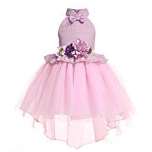 cbfd5dd069 Girls Hanging Neck Dresses Formal Wedding Bridesmaid Party Dress Flower  Girl Dress - Pink