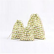 Unisex Cartoon Printing Linen Drawstring Bag Travel Backpack Packet Size Small E