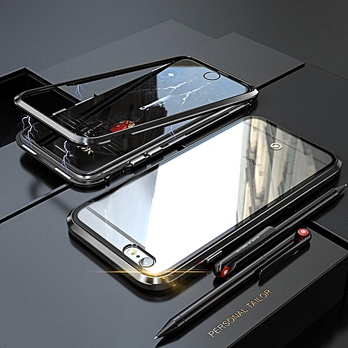 best loved dd578 2332e Built-in Magnet Case For IPhone 6 Plus / for iphone 6s Plus Clear Tempered  Glass Magnetic Adsorption Case Metal Ultra Cover Bumper Mobile Accessories  ...