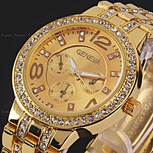 Classic Luxury Stainless Steel Analog Wrist Watch -Gold