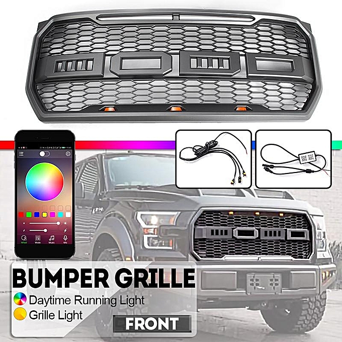 For Ford F150 2015 2018 Abs Front Bumper Grille Grill Amber Rgb Drl App Control