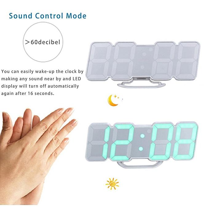 LED alarm clock Remote Control Voice Control 3D Digital clock Electronic  table watch desktop nixie clock wall clock decorative(Black Shelf)