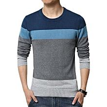 Men Casual Striped Slim Fit Sweater - Sapphire Blue
