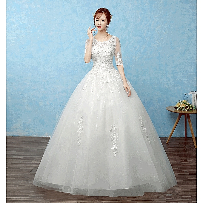 fe9efaaa35d AFankara Floor Length Bridal Dresses Wedding Dress-White   Best ...