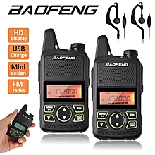 2 x BaoFeng BF T1 Mini Walkie Talkie Two-Way Radio 400-470MHz 20 channels + PTT Earpieces