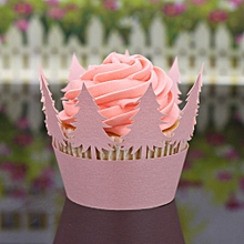 Christmas Hollow Lace Cup Muffin Cake Paper Case Wraps Cupcake Wrapper Pink