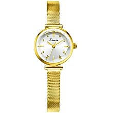 Gold Classy Luxury Round Dial Watch + Free Gift Box