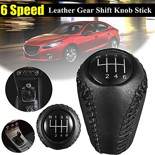 6 Speed Leather Gear Shift Knob Shifter For MAZDA 3 BK BL / 5 CR CW / 6 II  GH