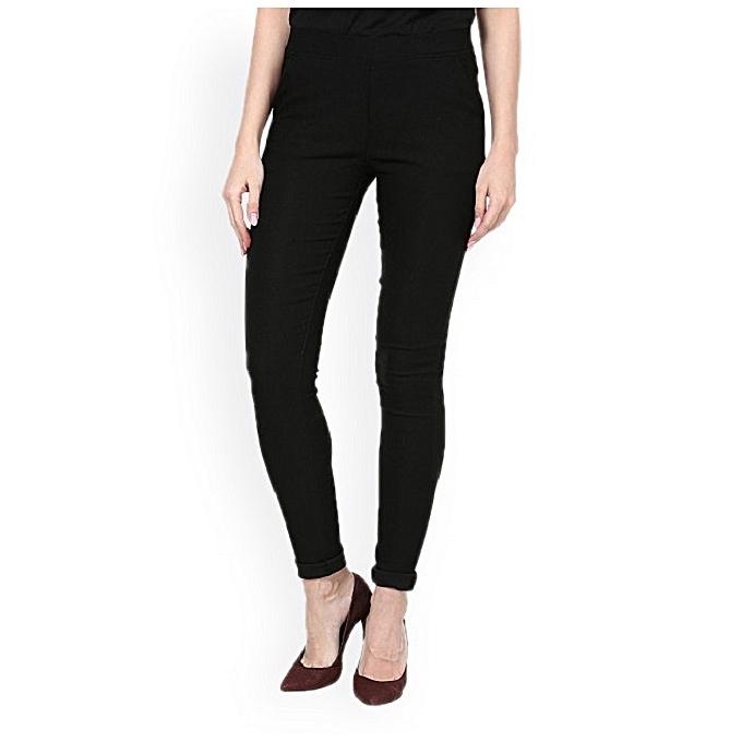 a1e6684af976f Narlki Women Black Slim-Fit Stretch Twill Full Length Jeggings ...