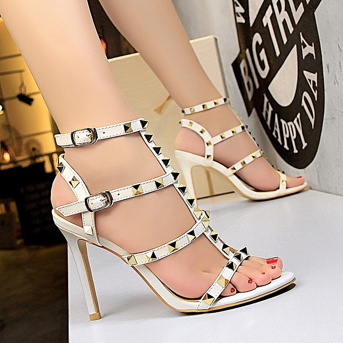 9ef950e31f8e Fashion Hollow Rivets Heeled Sandals High Heels Sandals Women Ankle Strap  Sandals Round Toe Stiletto High