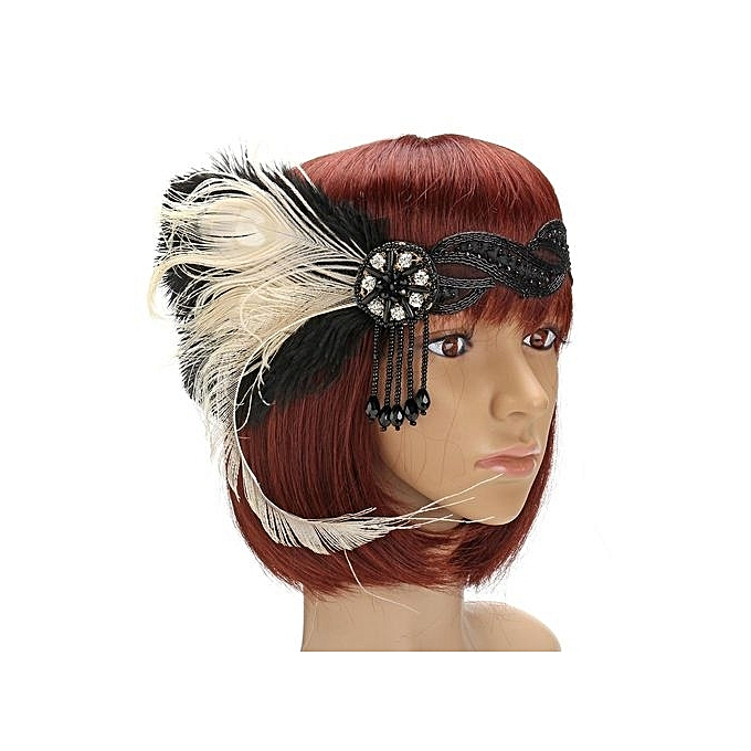 6d88f28a9a09e 1920s Feather Headband Bridal 20's Great Gatsby Flapper Costume Dress  Headpiece