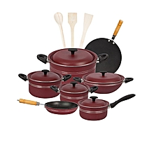 Fine 15 pieces non-stick cooking set (Alluminum) Lid - Red