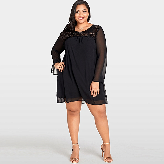 62289be603 Women Large Size Lace Chiffon Dress Plus Size Sheer Sleeve Nightclub Casual  Loose Party Dress Black