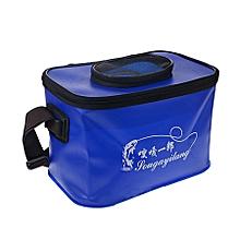 Live Fish Bucket Folding Water Bucket  Fish Bucket Bait Box Fishing Water Tank,size:33*23*22cm(blue)