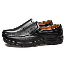 Fashion Men Cow Leather Slip On Wear-resistant Casual Formal Shoes-EU