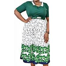Green Plus Size Flowered Skater Dress