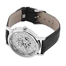 Cool Design Hollow Out Transparent Dial PU Leather Wrist Watch Gift New-black & White