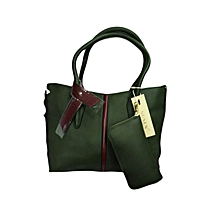 2 in 1 Leather Tote Bag - Green
