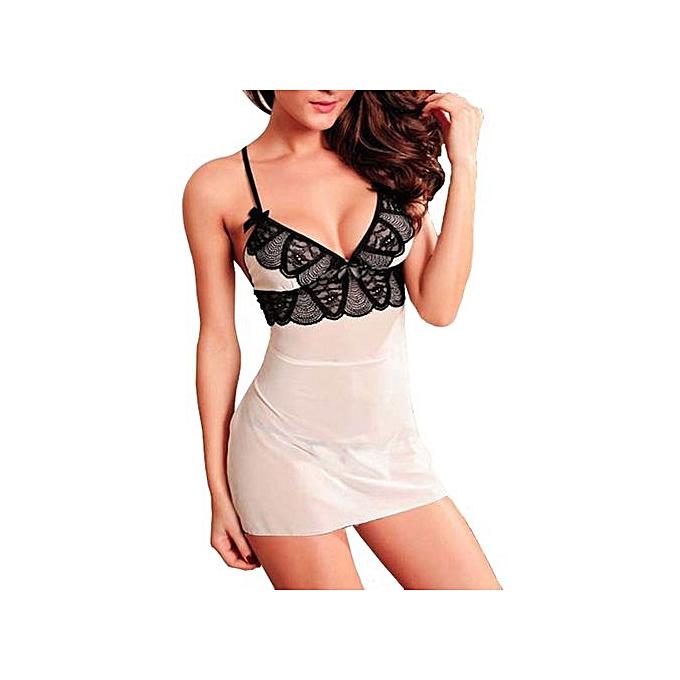 b76e674ec5 Hot Women s Sexy Lingerie Lace Bow Dress Underwear Black Babydoll Sleepwear