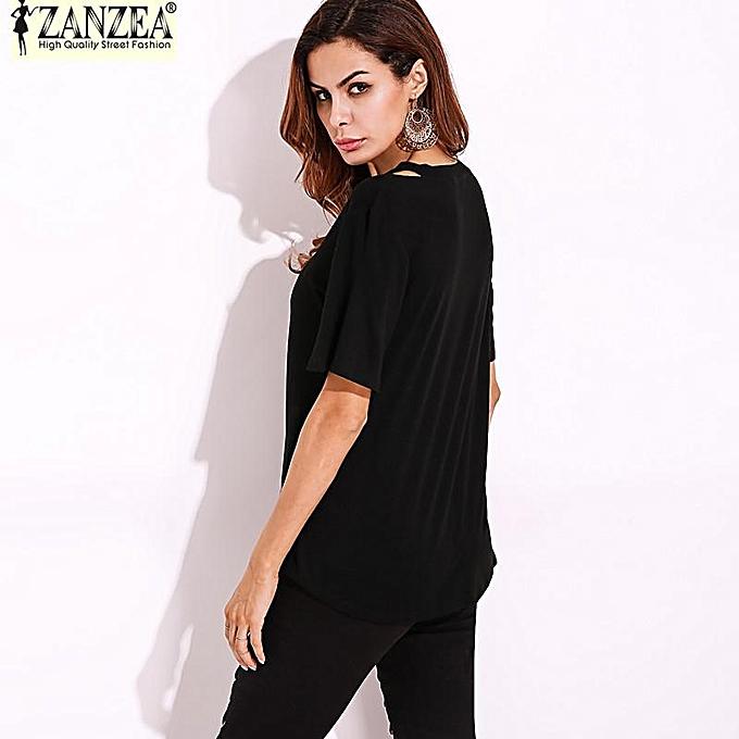 71b03f2e670 ... S-5XL ZANZEA Women Short Sleeve Deep V Plus Asymmetrical T-Shirt Blouse  Tops ...