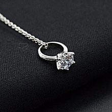 bluerdream-Women Diamond Ring Pendant Necklace Chain Necklace Jewelry-Silver