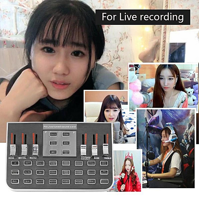 F8 4 Modes Studio Audio Mixer Microphone Webcast Streamer Live Sound Card  for twitch live for steam game live for twitch