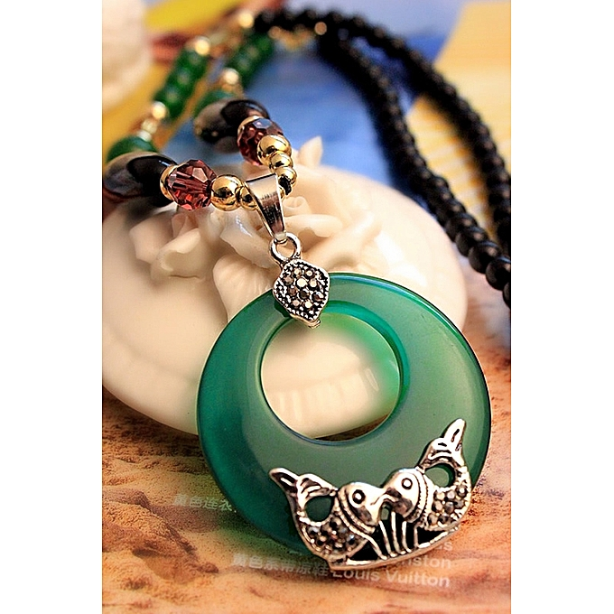 03e36bb2d7 Fashion Fashion wild green cat eyes Pisces long Korean sweater chain cat  eyes female accessories pendant necklace retro sweater chain(Green Cat Eye  Double ...