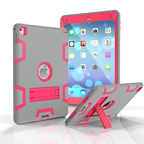 low cost a15fd 23b3b For Ipad 6 Case, Armor-Box Three Layer Heavy Duty Rugged Hybrid Protective  With KickStand Case For IPad Air 2 (Grey/Rose)